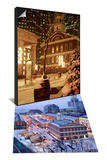 Faneuil Hall at Christmas with Snow, Boston, MA & Quincy Market, Faneuil Hall, Boston, MA Set Posters by James Lemass
