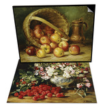A Basket of Apples & Raspberries and Sweet Pea Set Art by August Laux