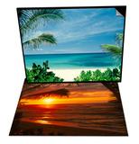 Beach and Palm Trees, Oahu, HI & Sunset on the Ocean with Palm Trees, Oahu, HI Set Print by Bill Romerhaus