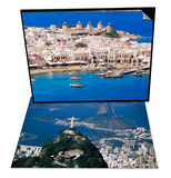 Aerial View of Mykonos, Hora and Harbour, Greece & City with the Cristo Redentor Statue, Brazil Set Print by Marco Simoni
