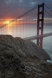 Golden Gate Bridge at Dawn with San Francisco City Lights in the Background Photographic Print by Adam Barker