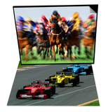 Horse Race in Motion & Formula 1 Auto Race Set Art by Peter Walton