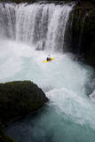 A Kayaker Beneath Spirit Falls on the Little White Salmon River in Washington Photographic Print by Bennett Barthelemy