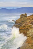 Waves Crashing Against Sandstone Cliffs at Cape Kiwanda in Pacific City, Oregon Photographic Print by Patricia Davidson