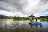Male Angler and Fly Fishing Guide Float the Rio Grande River in Patagonia, Argentina Photographic Print by Matt Jones