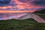 Colorful Sunset over the Beach in Rhossili on the Gower Peninsula, Wales, United Kingdom Photographic Print by Frances Gallogly