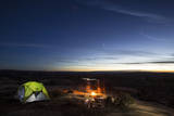 Night Camping Scene with Lit Up Tent and Campfire. Moab, Utah Photographic Print by Matt Jones