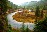 A Salmon River S-Bends Through Central Idaho on a Rainy Autumn Day Photographic Print by Ben Herndon