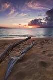 The Sun Setting over the Ocean on North Kaanapali Beach in Maui, Hawaii Photographic Print by Clint Losee