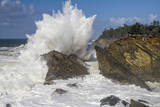 Crashing Waves During High Surf Advisory at Shore Acres State Park Along the Oregon Coast Photographic Print by Patricia Davidson