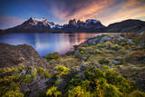 Chile, Magallanes Region, Torres Del Paine National Park, Lago Pehoe, Landscape, Dawn Photographic Print by Jay Goodrich