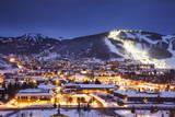 Winter Cityscape of Park City Mountain Resort and Deer Valley Resort, Utah Photographic Print by Adam Barker