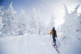A Young Man Enjoying Backcountry Skiing on Mt. Tumalo, Oregon Cascades Photographic Print by Bennett Barthelemy
