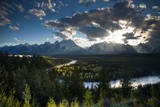 Grand Tetons, Wyoming: Snake River with the Sun Setting over the Grand Tetons in the Background Photographic Print by Brad Beck