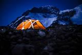 Four Season Tent Set Up Upon a Ridge on at Sunset, Mount Rainier National Park, Washington Photographic Print by Dan Holz