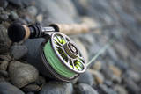 Close-Up of Fly Fishing Reel and Steelhead Photographic Print by Justin Bailie