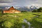 Scenic Landscape Image of the Moulton Barn with Storm Clouds, Grand Teton National Park, Wyoming Photographic Print by Adam Barker