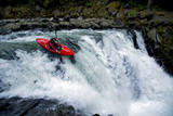 A Young Male Kayaker Drops in to Big Brother on the White Salmon River in Washington Photographic Print by Bennett Barthelemy
