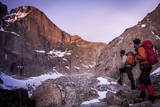 Climbers Look at Rocky Mountain National Park's the Diamond Trail, Long's Peak, Colorado Photographic Print by Dan Holz