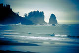 Olympic National Park, Wa: Surfers Brave the Cold Water of the Shore of La Push, Washington Photographic Print by Brad Beck