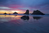 A Colorful Sunset in Bandon, Oregon and Face Rock and Other Sea Stacks Dot the Landscape Photographic Print by Patricia Davidson