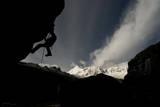 A Male Does Prusik Practice at Ishinca Valley Basecamp, Cordillera Blanca, Peru Photographic Print by Erik Johnson