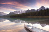 Canoe and Mountain Reflection in Waterfowl Lakes, Alberta, Canada Photographic Print by Lindsay Daniels