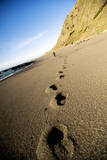 Footprints in Sand Along California's Lost Coast Trail, King Range Conservation Area, California Photographic Print by Bennett Barthelemy