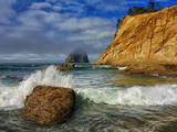 Wave Crashes on Rock with Sandstone Cliff Glowing in Morning Light, Cape Kiwanda, Oregon Photographic Print by Arnab Banerjee