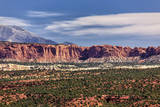 Capital Reef National Park Cliffs and a View of Some of the Henry Mountains in Southern Utah Usa Photographic Print by Mitch Johanson