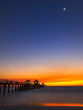 Naples Pier at Sunset with Crescent Moon, Jupiter and Venus Photographic Print by Frances Gallogly