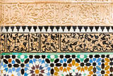 Tile and Stucco Decoration, Ben Youssef Madrasa, Marrakech, Morocco Photographic Print by Nico Tondini