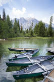 Canoes at Dock on Jenny Lake, Grand Teton National Park, Wyoming Photographic Print by Sue Anne Hodges
