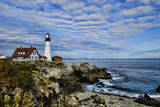 USA, Maine, Portland. Portland Headlight Lighthouse on Rocky Shore Photographic Print by Bill Bachmann