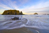 Morning on the Beach in Bandon, Oregon with Incoming Tide, Sea Stacks and Face Rock Photographic Print by Patricia Davidson
