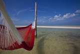 A Red Hammock Spread Out by the Wind Swings Above the Water During Low Tide, Hobox Island, Mexico Photographic Print by Karine Aigner