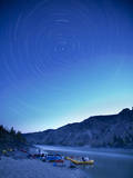 Star Trails over the Fraser River and Raft Camp, British Columbia, Canada Photographic Print by Justin Bailie