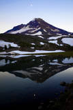 A Waxing Moon and South Sister Reflected in Camp Lake, Oregon Cascades Photographic Print by Bennett Barthelemy