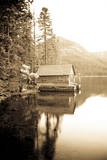 Scenic Image of Boathouse on Fallen Leaf Lake, California Photographic Print by Justin Bailie