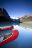 Canoes at Lake Louise, Canada Photographic Print by Lindsay Daniels
