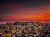 Sunset over the Fort in Jaisalmer, India Photographic Print by Frances Gallogly