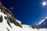 A Young Male Skier Drops Huge Air in the Mount Baker Backcountry on Mount Herman Photographic Print by Jay Goodrich