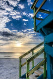 South Beach Miami: a Lifeguard Stand on South Beach During a Sunrise Photographic Print by Brad Beck