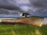 Old Rusty Lobster Boat on a Grassy Bank by the Ocean in Nova Scotia Photographic Print by Frances Gallogly