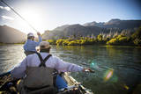Two Male Fly Fishermen Bombing Streamers on the Rio Grande, Argentina Photographic Print by Matt Jones
