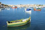 Fishermen and Luzzus in Marsaxlokk Harbor, Malta Photographic Print by Richard Wright