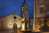 Presbytere Church and Memorial Fountain, Provence, France Photographic Print by Brian Jannsen