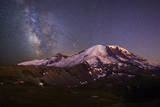 USA, Washington. Milky Way and Mt. Rainier, Mt. Rainier Photographic Print by Gary Luhm
