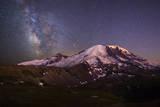 USA, Washington. Milky Way and Mt. Rainier, Mt. Rainier Photographic Print by Gary Luhm