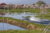 Myanmar. Boat Speeds Through the Waterways of Inle Lake, Shan State Photographic Print by Charles Cecil